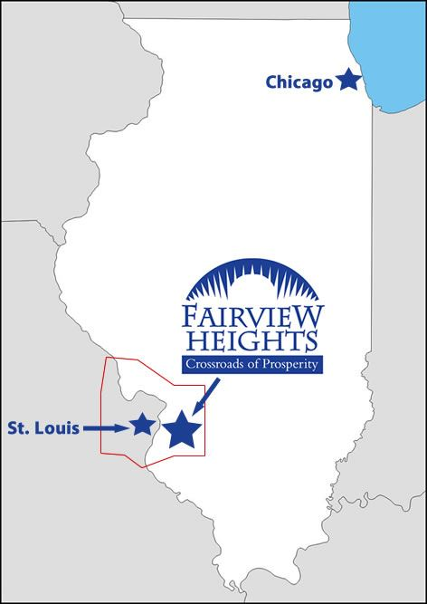 Map showing the location of Fairview Heights in relation to Chicago and Saint Louis.